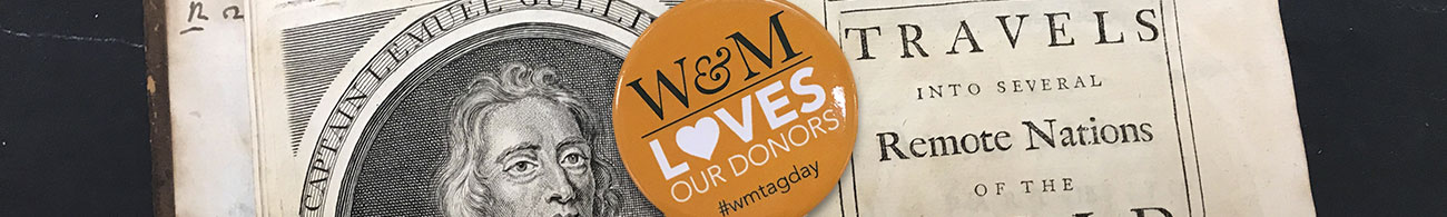 "Button with text ""W&M loves our donors!"" sits on top of a rare book from Special Collections"