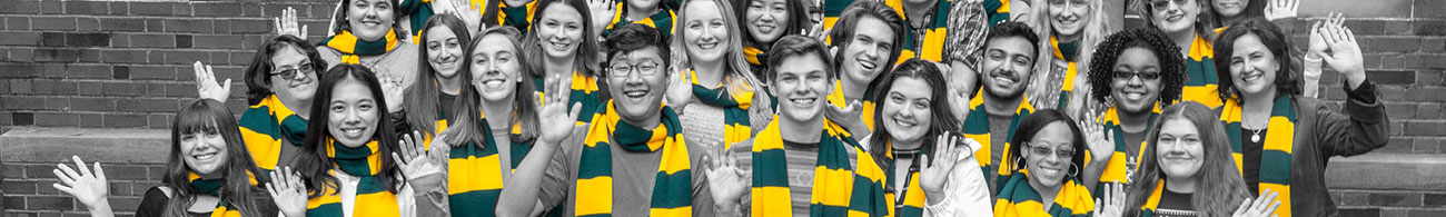 Dressed in green and gold scarves. the Libraries' student employees pose for a photo with Dean Carrie Cooper
