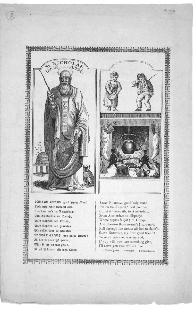 Black-and-white broadside featuring engravings of St. Nicholas and accompanying Christmas figures. Text of a poem is underneath the engravings, printed in what appears to be both Middle English and modern English.