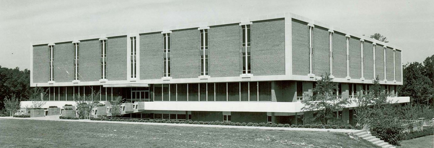 Exterior view of the Earl Gregg Swem building from the 1960s.