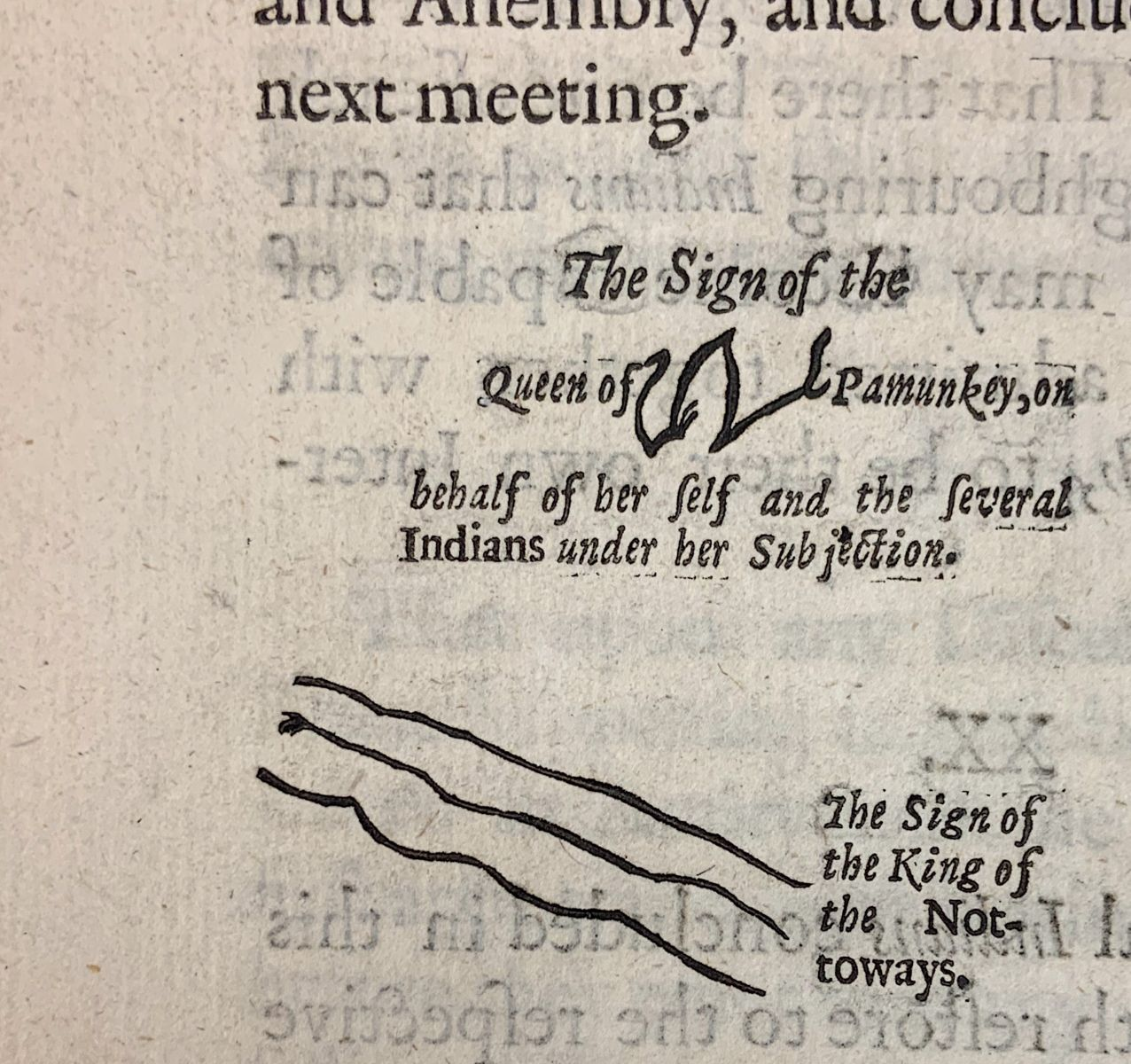 A close-up of the signature of the Queen of Pamunkey, a shape that looks like a bold 'W' in a tree-branch or river-like formation. Sign of the King of Nottoways: three wavy parallel lines