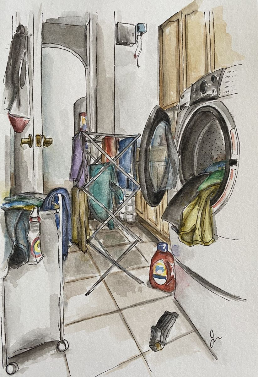 Watercolor of overflowing laundry bins