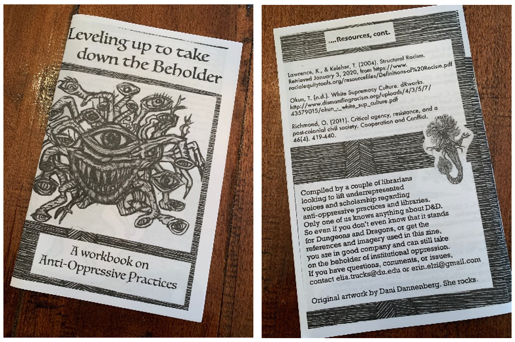 "Front and back cover of 'Leveling up to take down the Beholder,' a zine ""workbook on Anti-Oppressive Practices."" The zine is black and white and decorated in Dungeons & Dragons imagery."