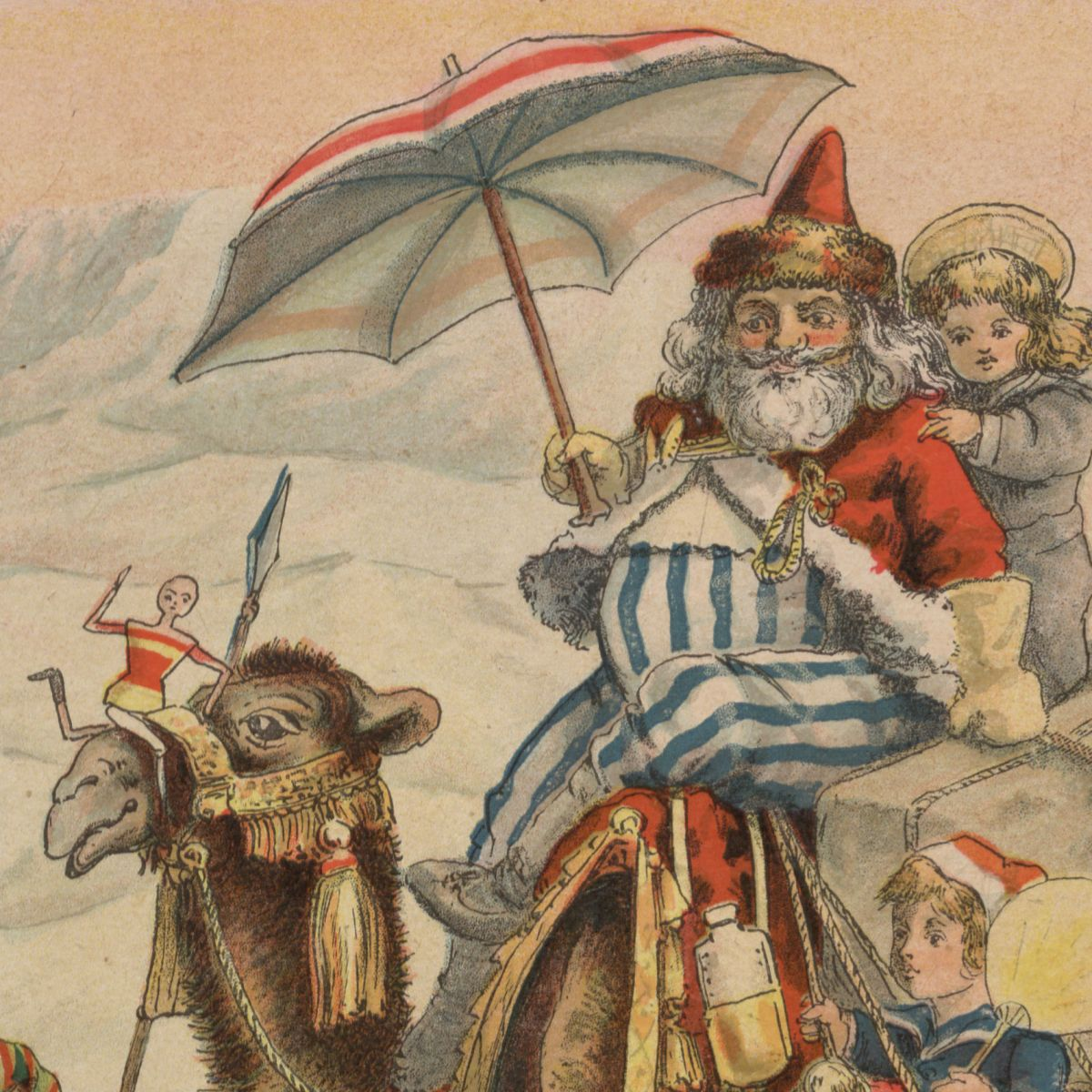 Santa traveling on a camel in the Middle East from the book Around the World with Santa Claus, 1900