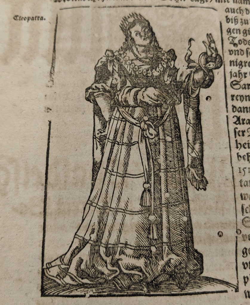 Full length portrait of Cleopatra in 16th-century garb with asp around her left arm