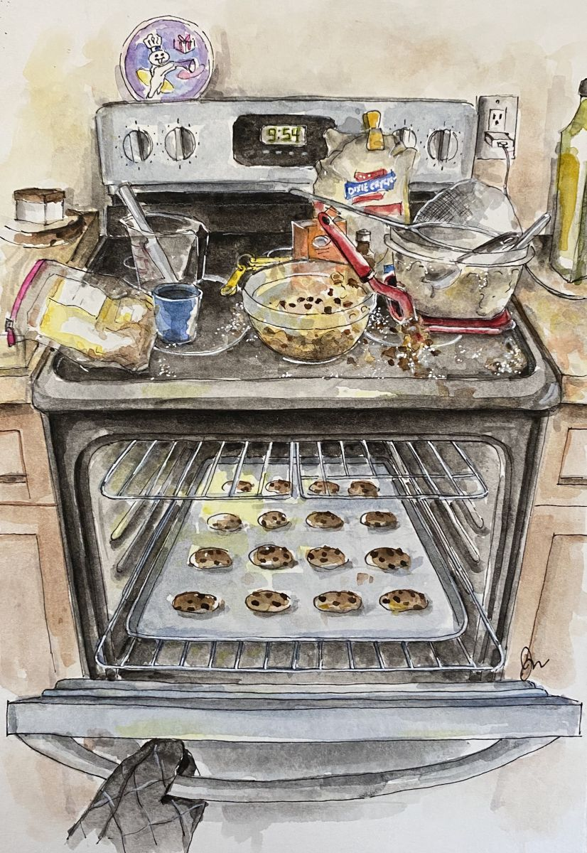 Watercolor of an open oven with chocolate chip cookies, and baking ingredients scattered all over.