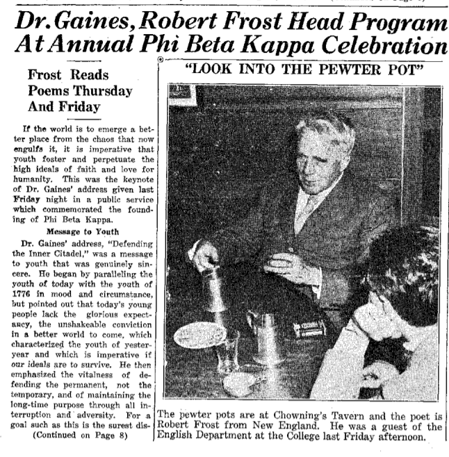 Flat Hat article with black-and-white photograph of Robert Frost dining at Chowning's Tavern in Colonial Williamsburg.