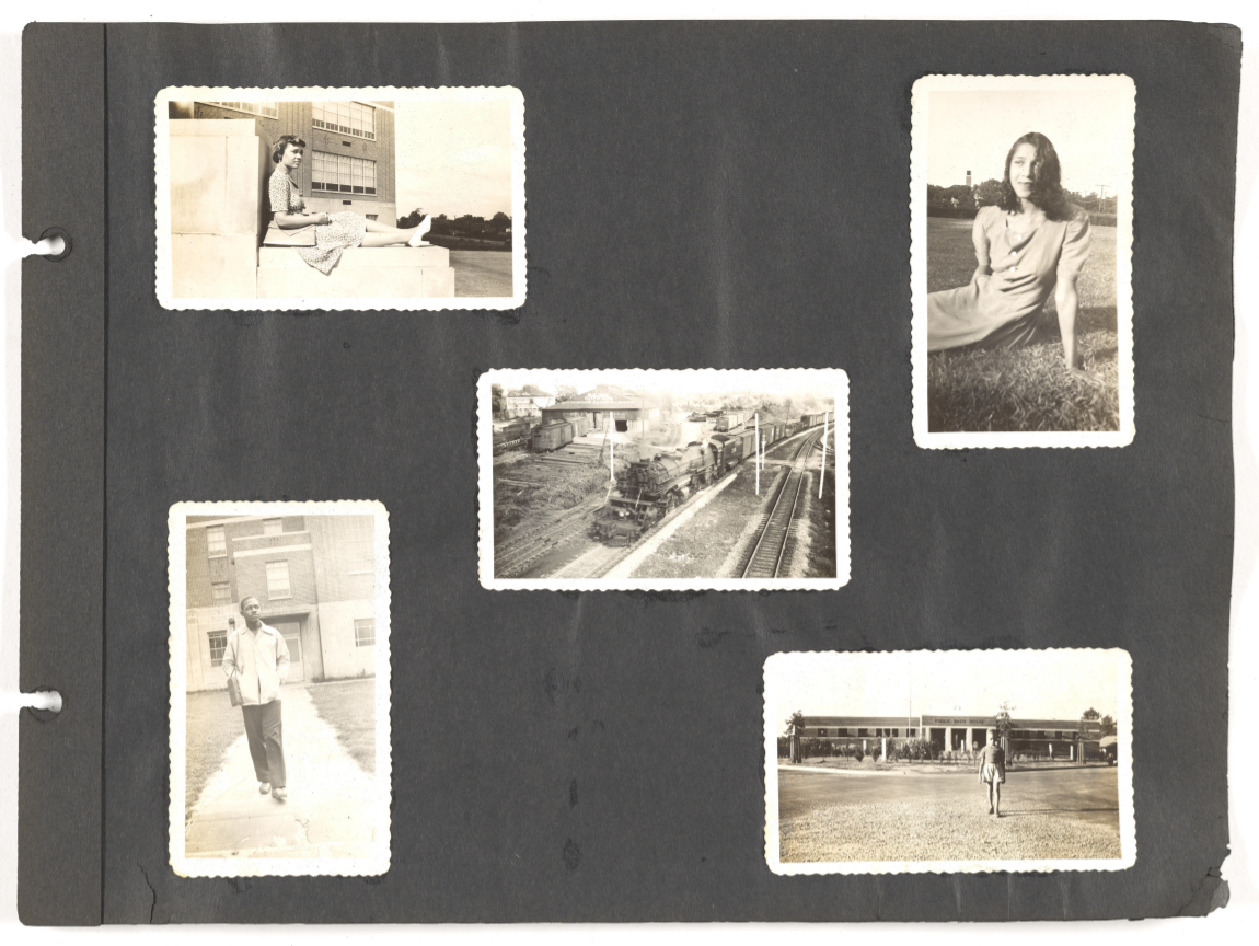 Page from the African American Family Photo Album, featuring five black-and-white photographs of unidentified individuals posing for their portrait around Richmond, Virginia.