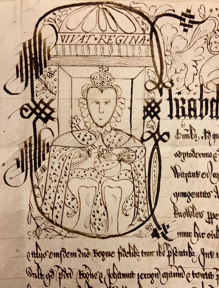 """A hand-drawn black-and-white illustration of Queen Elizabeth I from the Elizabeth I, Queen of England document (SC 01561). Elizabeth wears a crown and royal robes. She appears to hold a scepter in one hand and a cross in the other. Her portrait is surrounded by floral designs and intricate calligraphic borders. Above her head, the words """"Vivat Regina"""" are written -- in English: Long Live the Queen."""