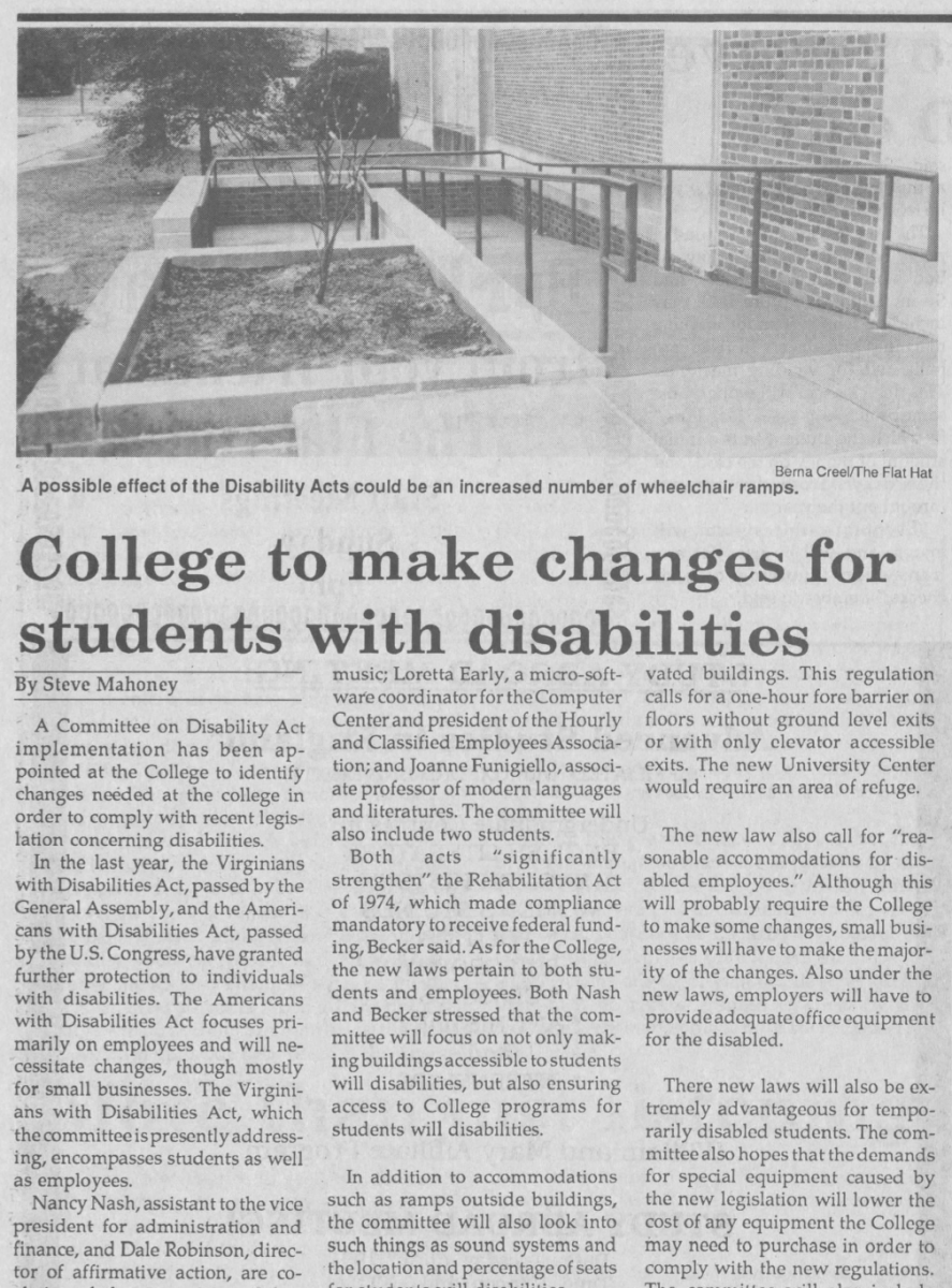 "Digitized article, ""College to make changes for students with disabilities"" by Steve Mahoney, from the March 29, 1991 issue of The Flat Hat. Article features black and white photograph of ramp outside of a campus building."