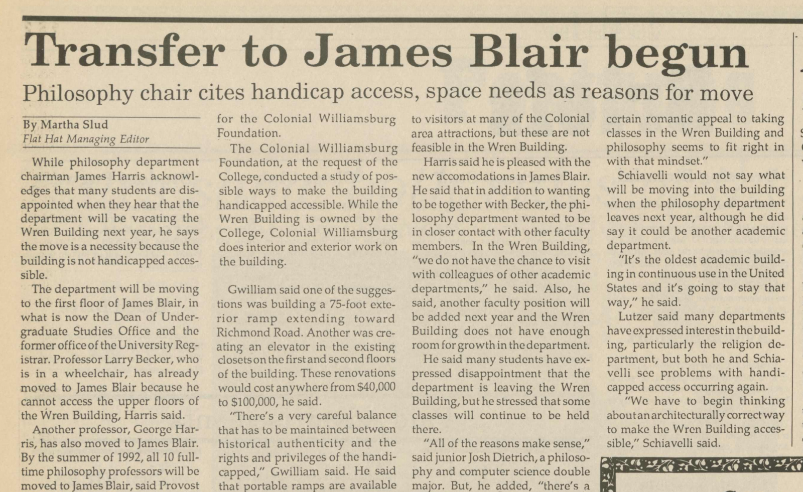"Digitized article, ""Transfer to James Blair begun"" by Martha Slud, from the September 20, 1991 issue of The Flat Hat."