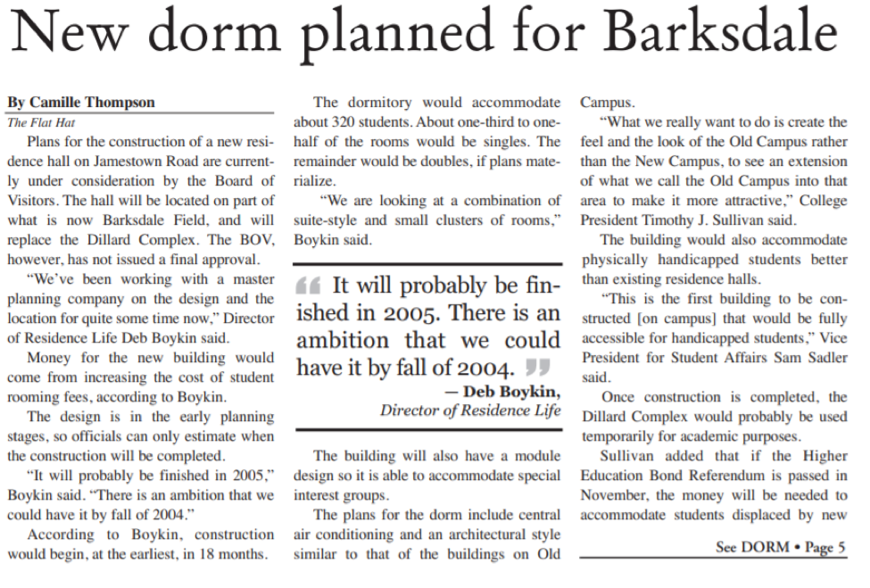 "Digitized article, ""New dorm planned for Barksdale"" by Camille Thompson, from the September 20, 2002 issue of The Flat Hat."