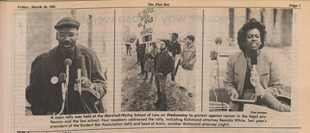 3 photos of students and lawyers protesting against racism in the legal profession and the law school, published in the Flat Hat on March 20, 1981