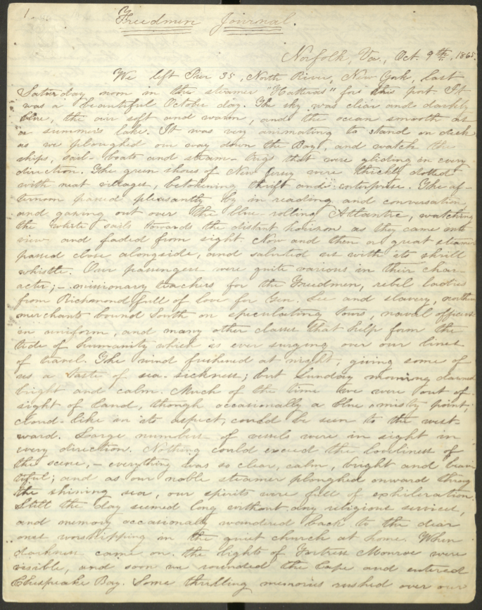 First page of the handwritten Freedmen's Bureau Journal.