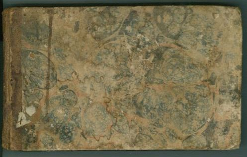 Skipwith's ledger, front cover. (Lady Jean Skipwith Papers, Box 23, Folder 4)