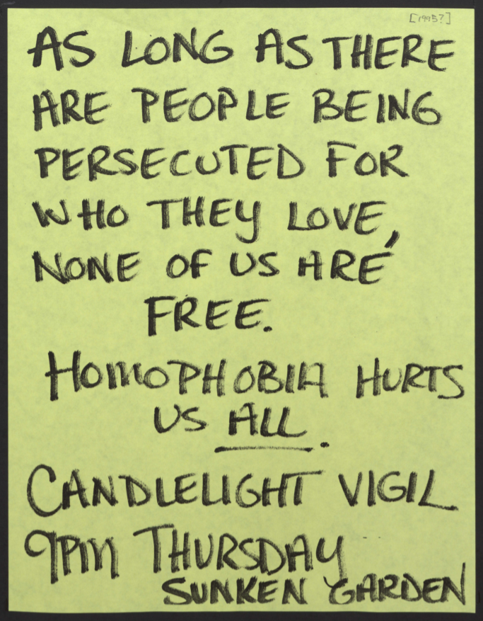 Handwritten flyer (on neon green paper) from the Gay Student Union announcing a candlelight vigil on the Sunken Garden in remembrance of those who have died due to homophobia.