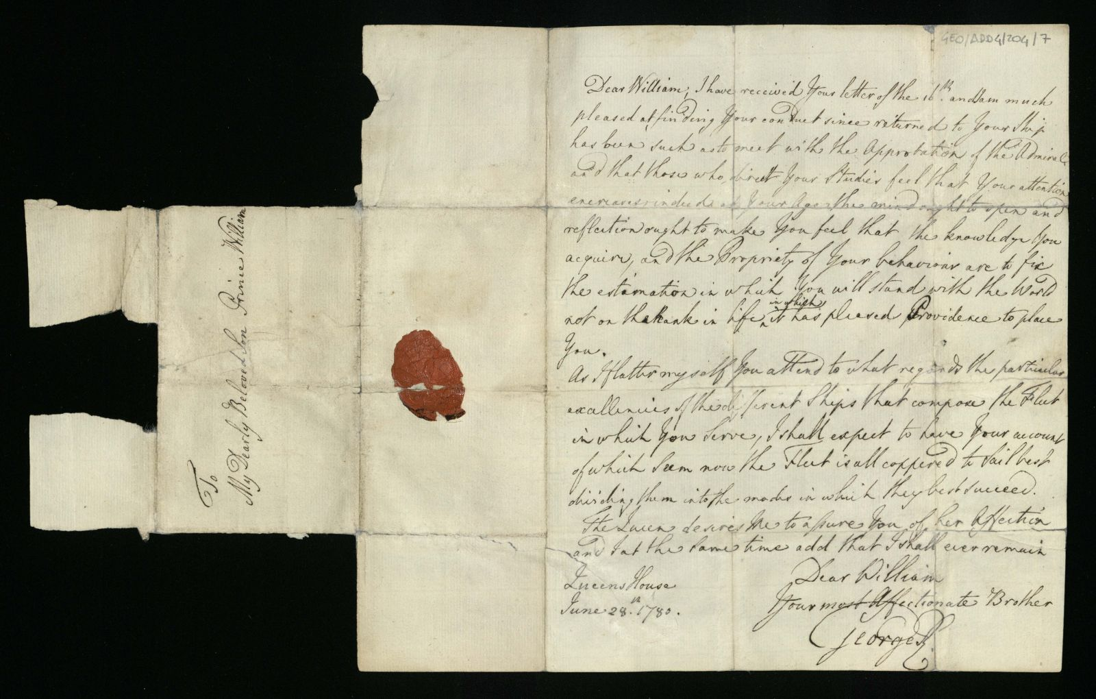 handwritten letter by George III