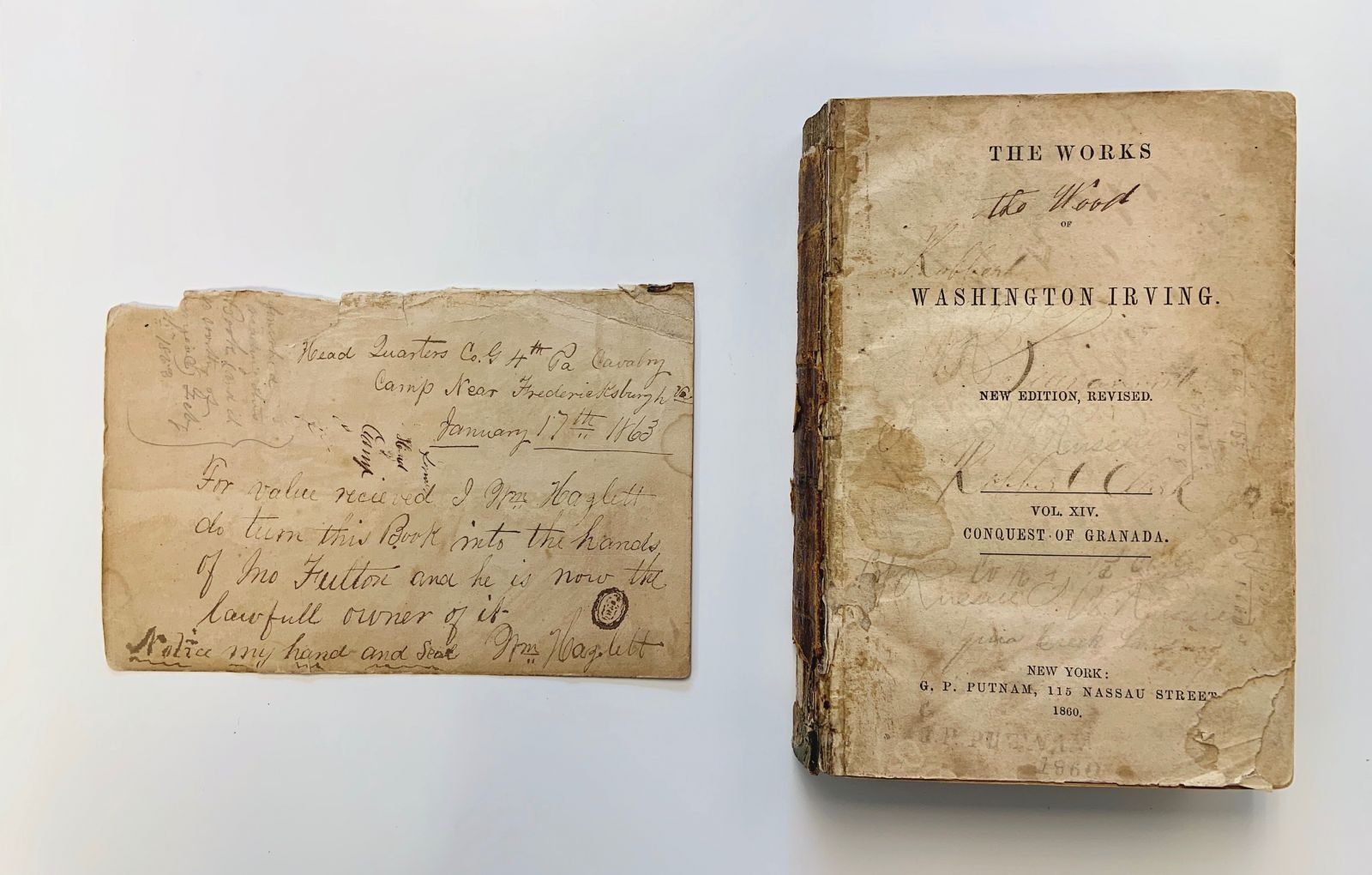 "The first page and title page of the 1860 copy of Conquest of Granada reads: ""For value received I Mr. Hazlett do turn this Book into the hands of Mr. Fulton and he is now the lawfull owner of it."" Signed on January 17, 1863."