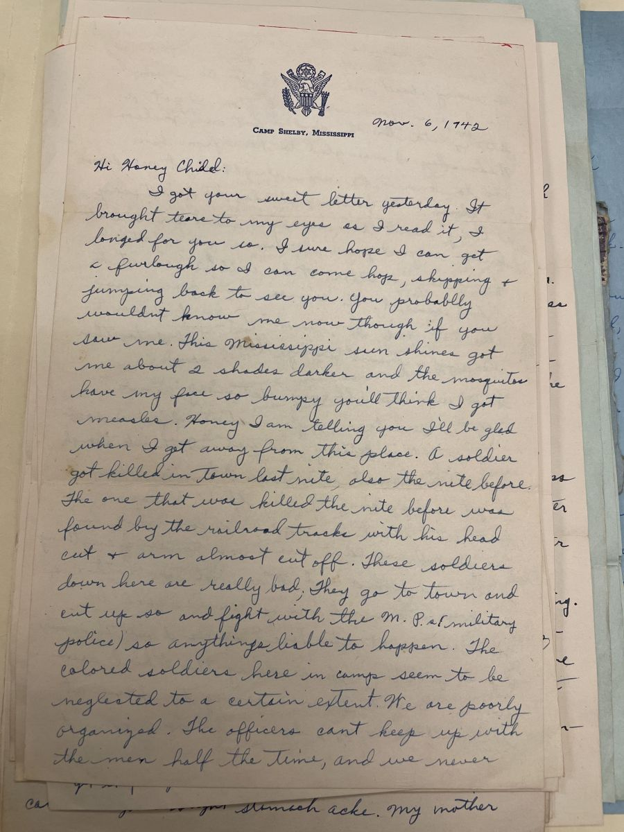 Letter from Jim Dansby to Gertha Sykes.Gertha Sykes Collins Papers, Mss. Acc. 2011.487