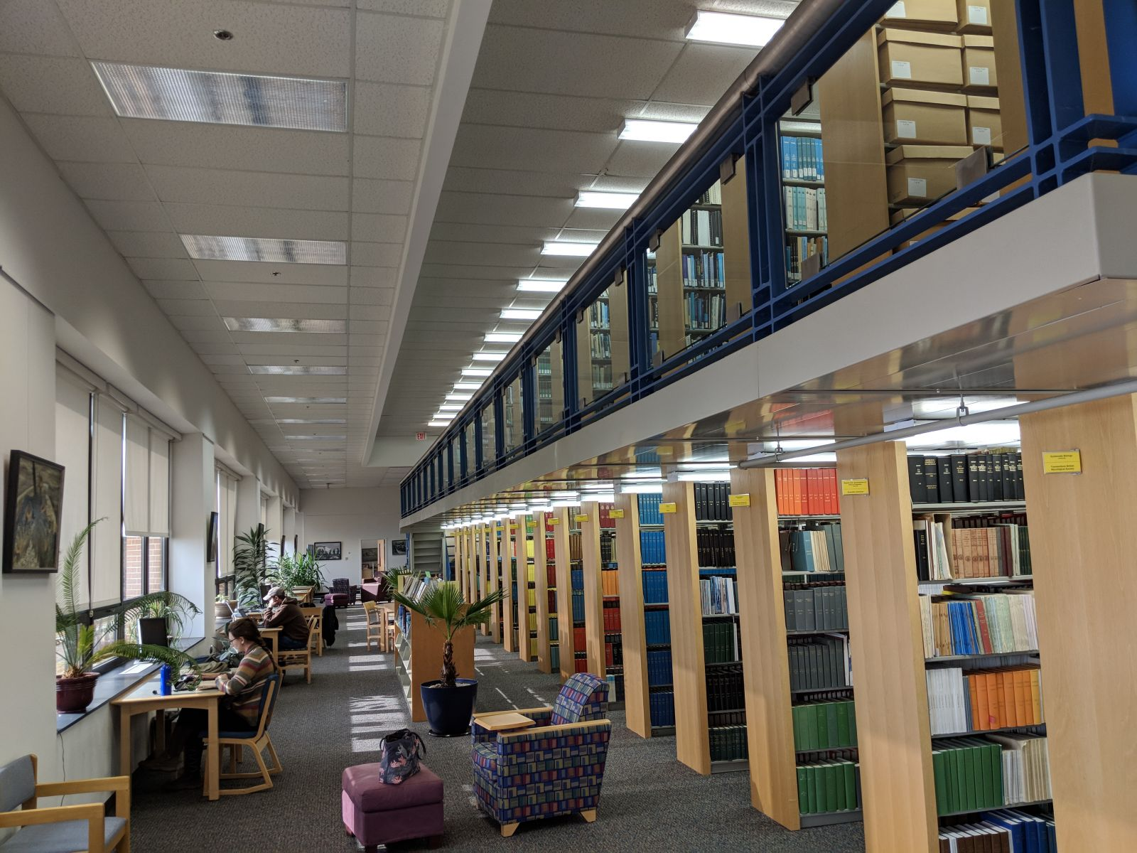 Interior of Hargis Library at VIMS with the stacks and seating.