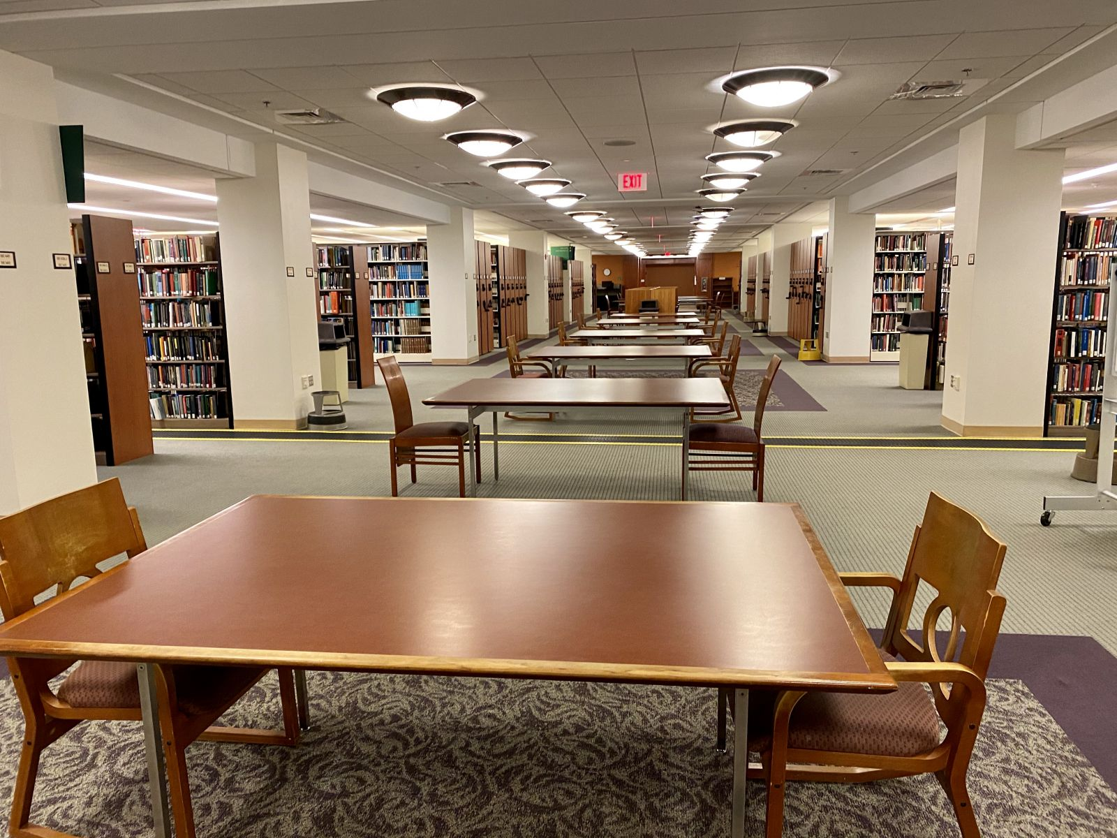 Study area in Swem Library spaced out to meet social distancing requirements
