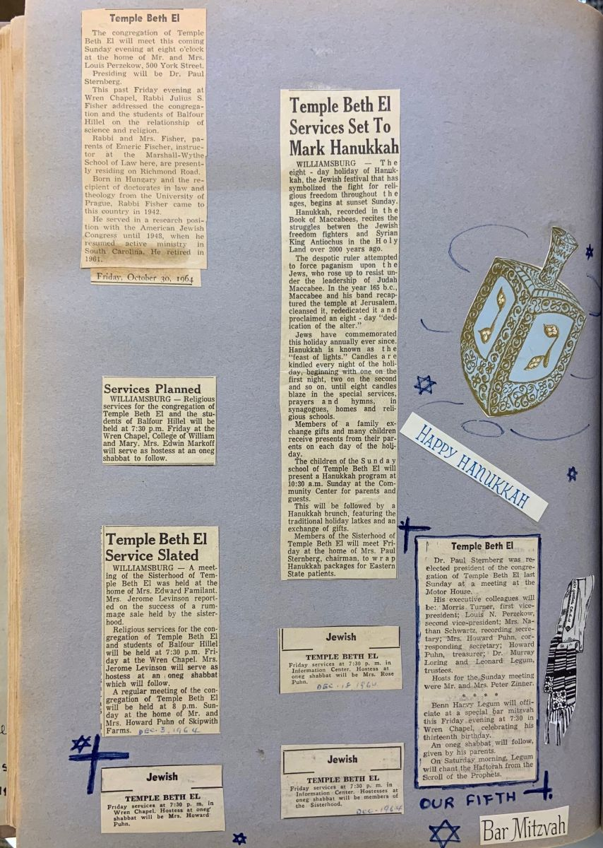 "An assortment of newspaper clippings from local newspapers advertising Hanukkah services at Temple Beth El. In blue ink, Beatrice Legum has added Stars of David. Also added is a dreidel sticker and stickers that say, ""Happy Hanukkah"" and ""Bar Mitzvah."""