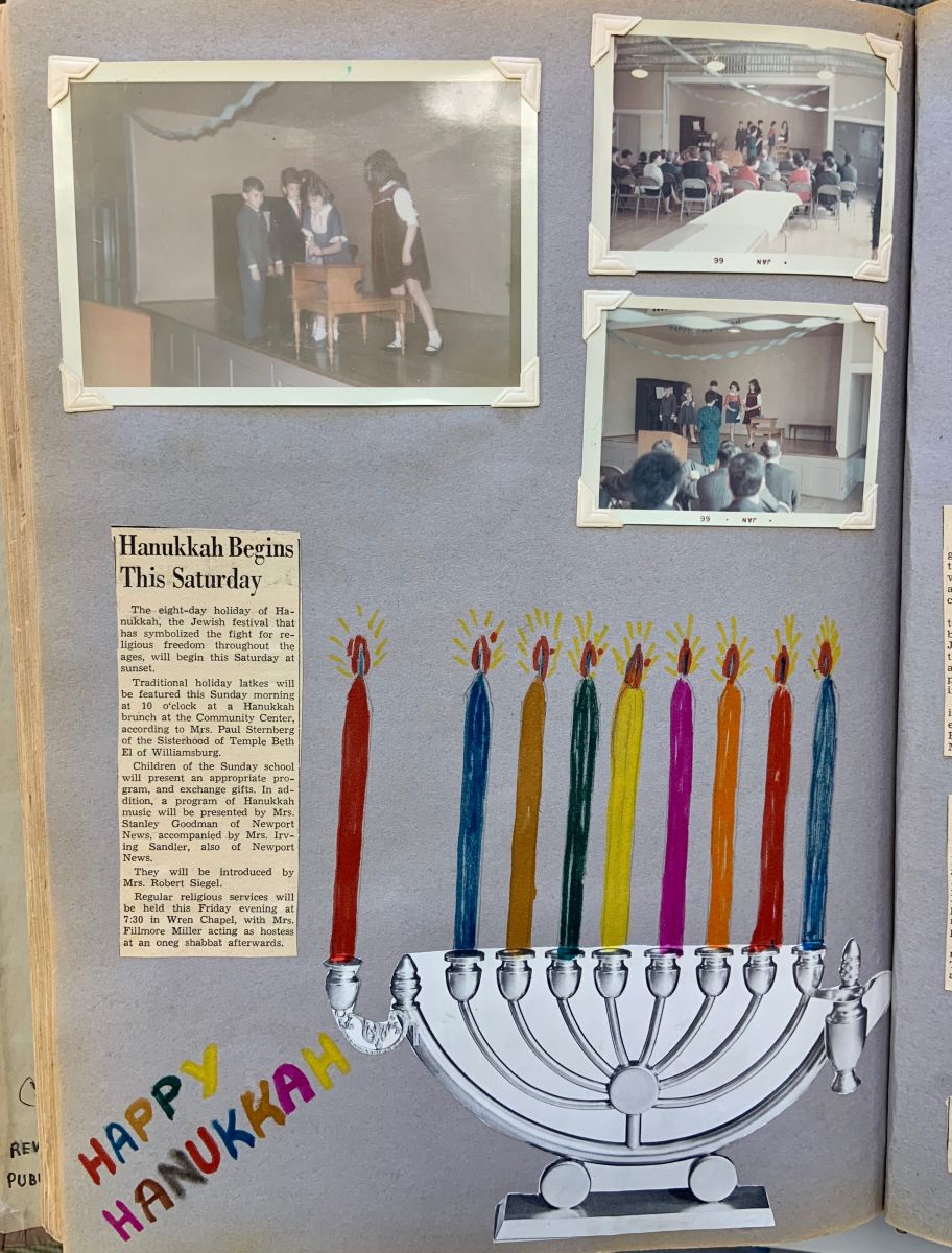 "A clipping of a Hanukkiah is complemented by colorful hand-drawn candles that have been added above the candleholders. Three Polaroid photos depict children lighting a candle on the menorah at temple. A newspaper clipping reads, ""Hanukkah Begins This Saturday."""