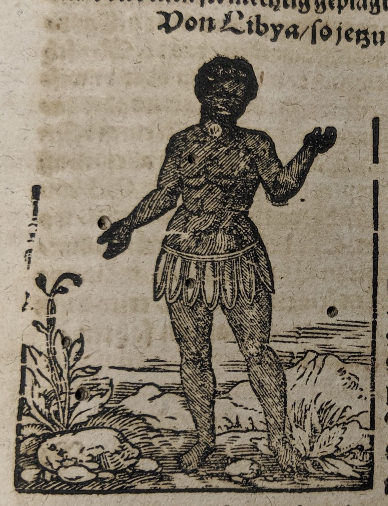 Full-length woodcut portrait of an indigenous person from Libya