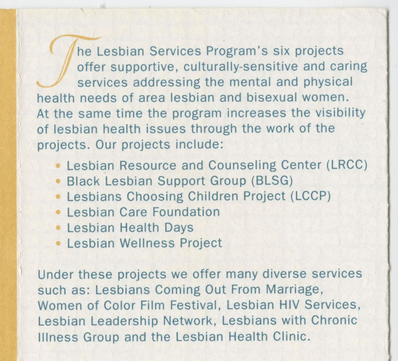 Excerpt from pamphlet invitation. Blue text on a white background with yellow accents lists the services offered through the Whitman-Walker Clinic's Lesbian Services Program.