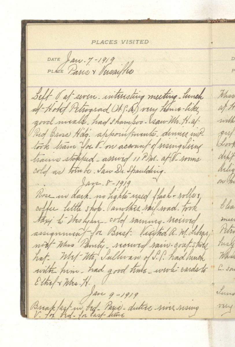 Page from Gibbons's diary