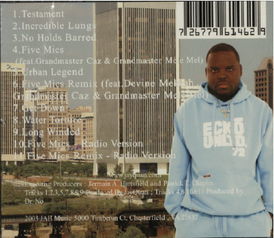Back cover of JayQuan's album