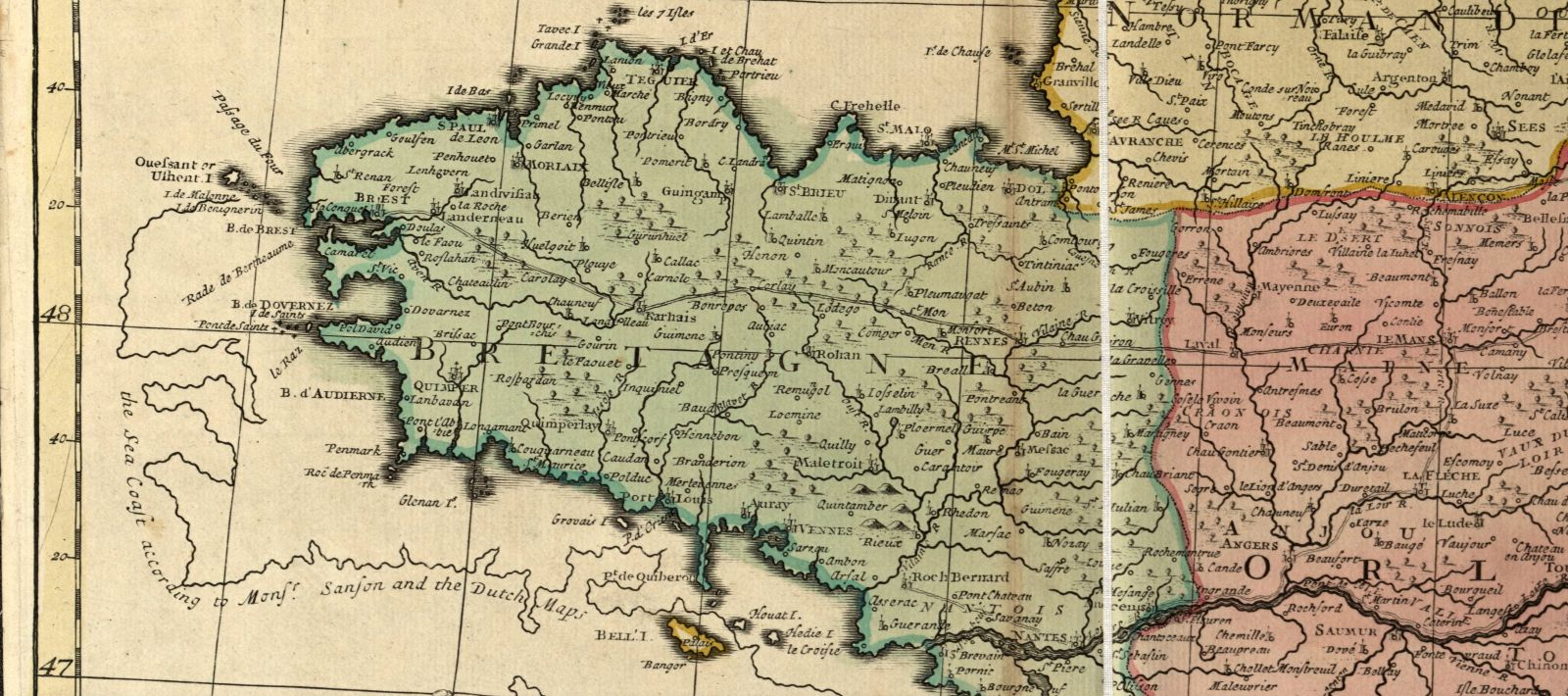 The northwest coast of France as illustrated on the Senex map. The newly drawn coast line is considerably different than the previous map projection. The previous coastline is outlined in black. The updated boundaries of France are colored in blue-green.