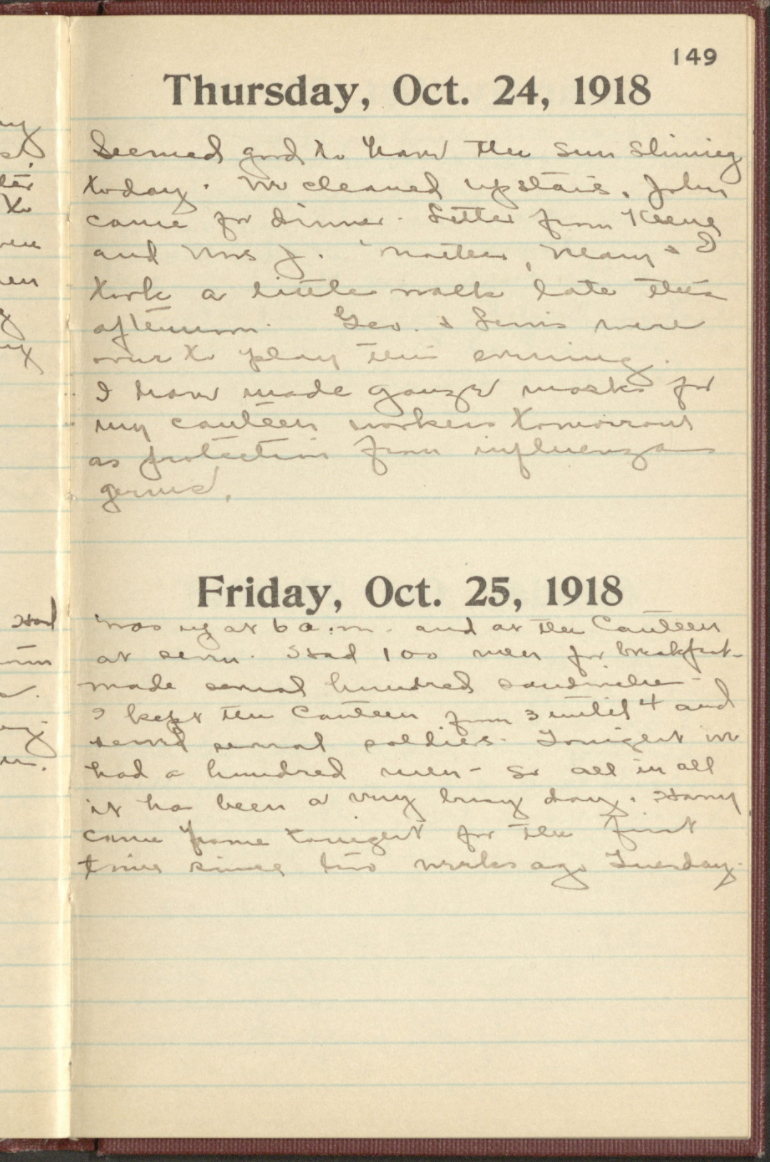 Handwritten page of a diary with entries from October 1918 detailing the war effort and flu pandemic