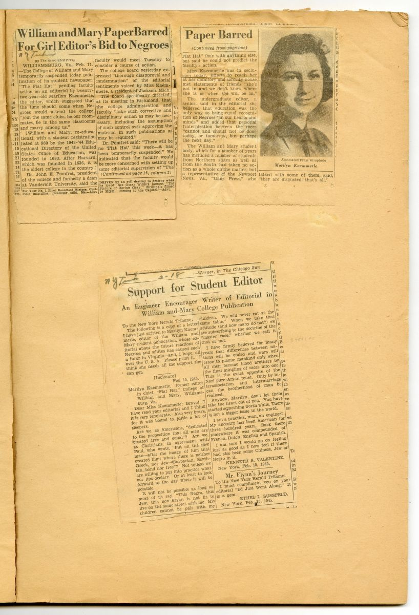 Internal page from Kaemmerle's scrapbook. Three articles pasted onto one page, including one that features a black-and-white headshot of Kaemmerle. The top two articles discuss Kaemmerle's ousting in more neutral reporting, but the bottom article rallies support for Kaemmerle's stance and her freedom of press.