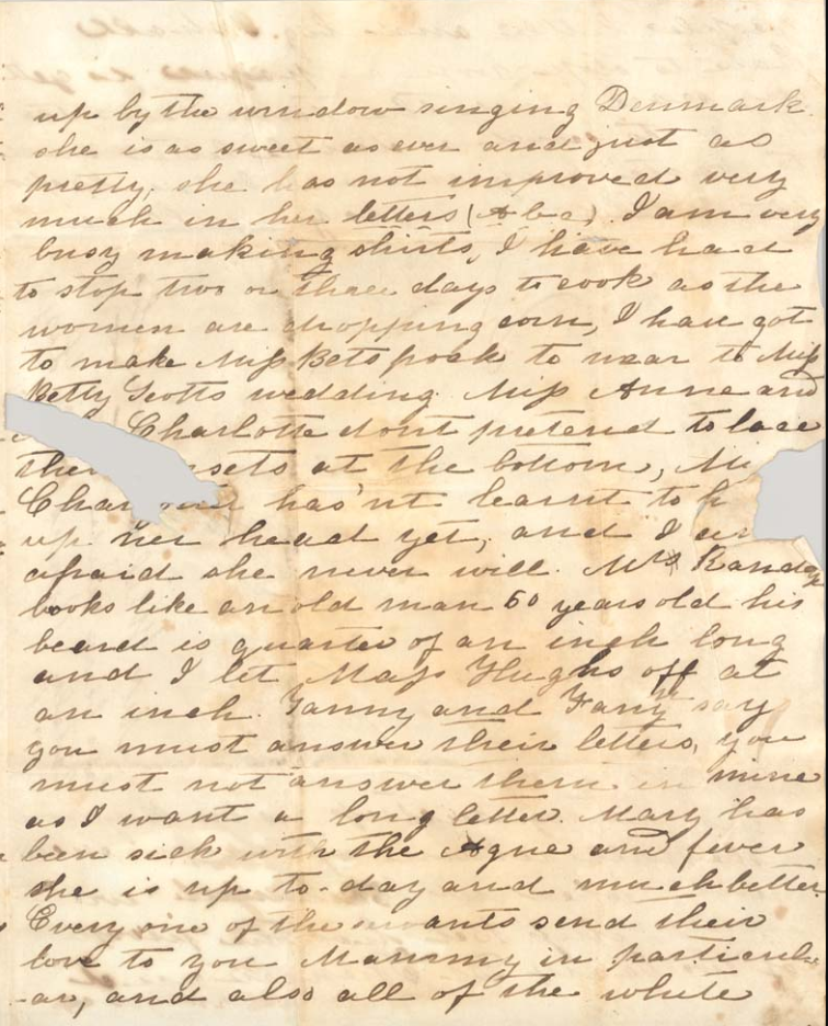 Page from a handwritten manuscript letter, written by Elizabeth Keckley in cursive script. In some places, the page has been torn and the text is illegible.