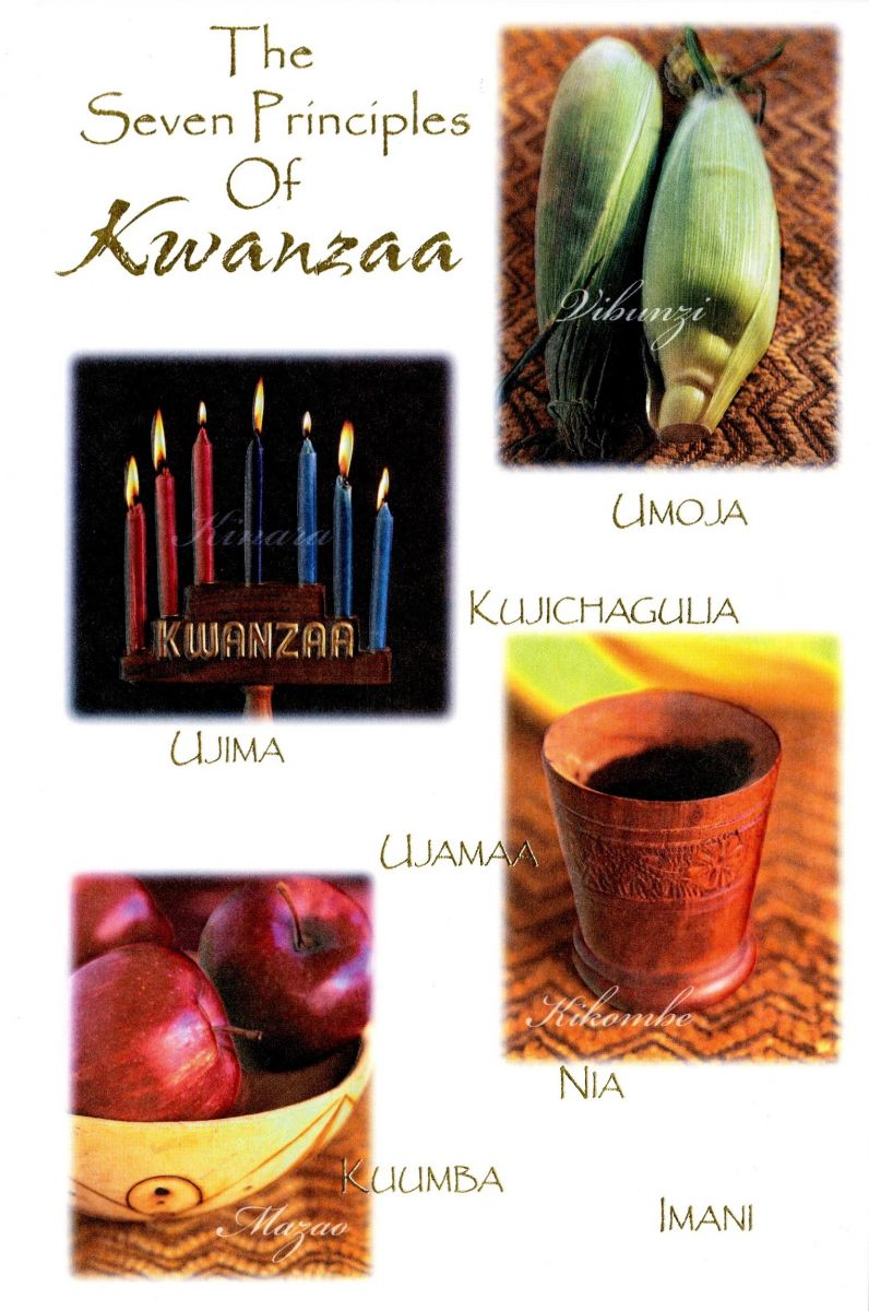 "Exterior/cover of a greeting card. ""The / Seven Principles / Of / Kwanzaa"" is typed at the top of the card in gold text. Images of two ears of corn, a fully lit Kinara, a unity cup, and apples accompany the seven principles, also typed in gold text. The background of the card is white."