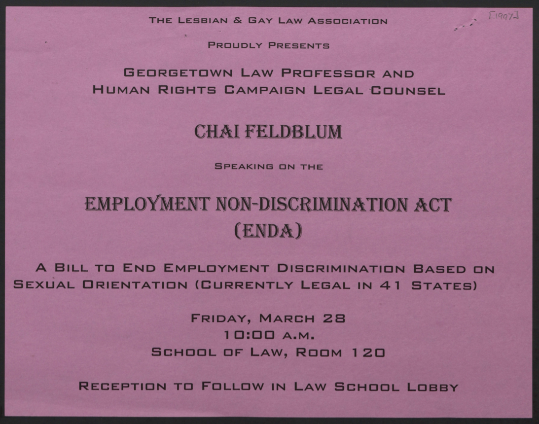 Pink flier which announces Feldblum's speaking engagement at the W&M Law School in black text.