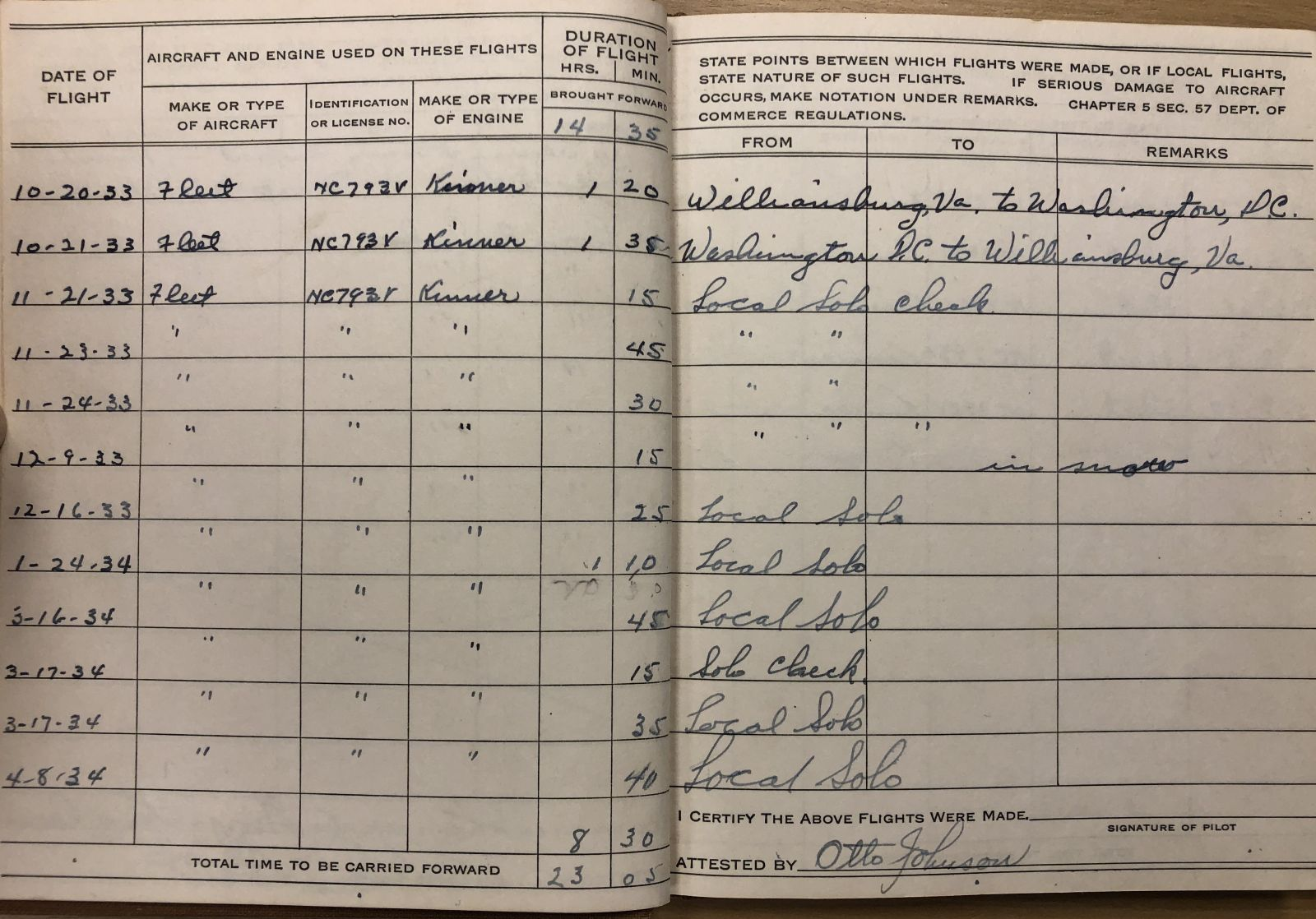 Pilot's logbook, inside pages