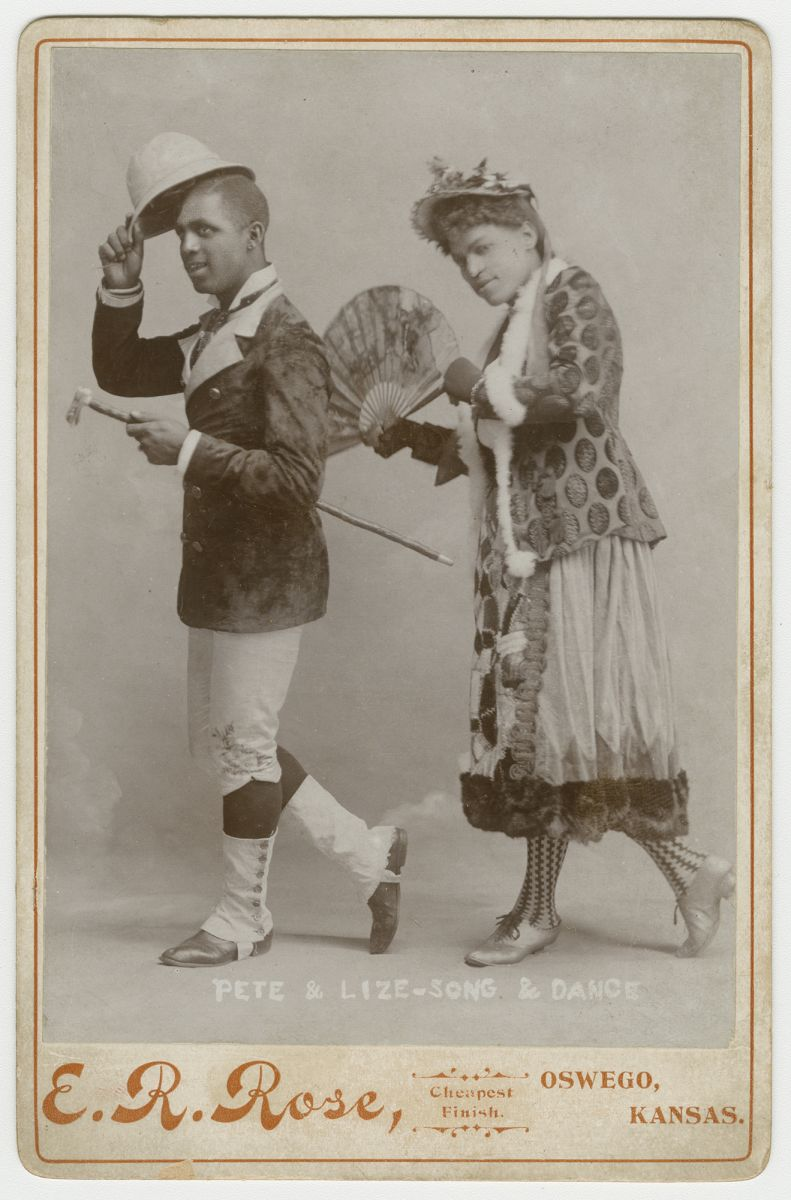 """""""Pete & Lize - Song & Dance."""" According to Toll, female impersonators were known for playing their roles """"straight,"""" meaning that the act was not meant to ridicule women, but rather to present an ideal version of womanhood, as well as the latest fashion."""