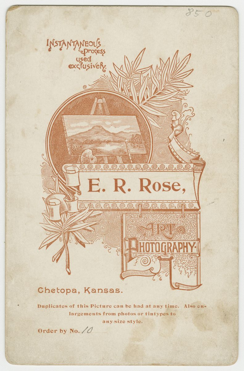 E. R. Rose cabinet card, verso