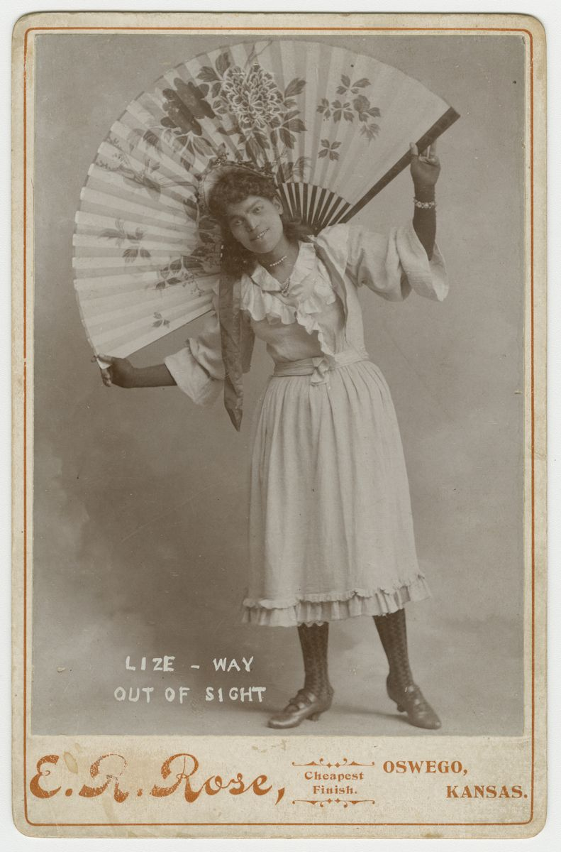 """""""Lize - Way Out of Sight.""""These three cabinet cards are of the medicine show duo """"Pete and Lize,"""" photographed by E. R. Rose, Oswego, Kansas. Eddie B. Love, a female impersonator, performed the part of Lize. The duo toured throughout Kansas in the late nineteenth century."""