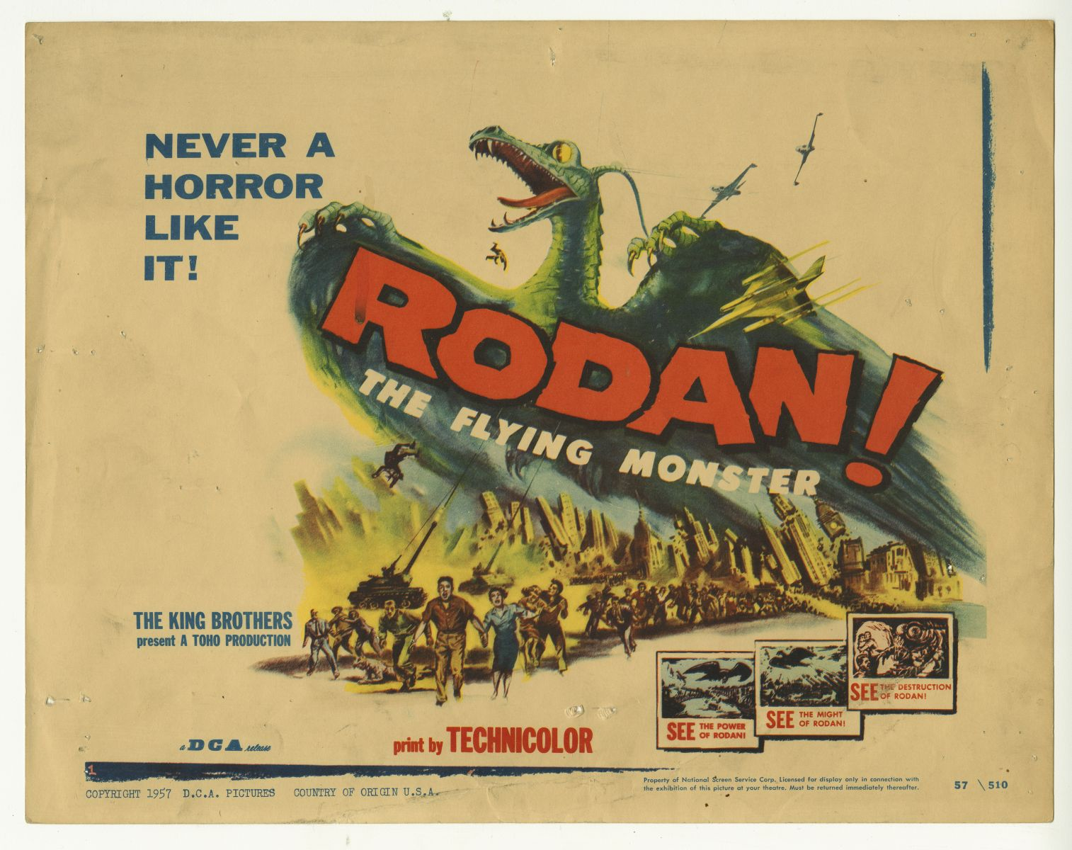 Released only a year later, this Rodan (1957) poster indicates that audiences were now expecting destruction, not American journalists, to be a key feature of kaiju films.    (Diane E. Clark Movie Poster Collection, MS 00081)