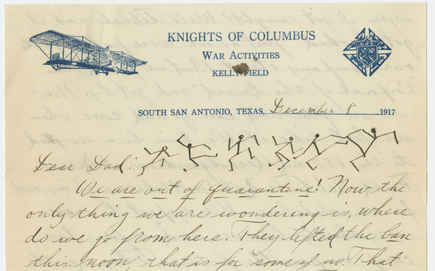 Beginning of a handwritten letter dated December 8, 1917, in which McElligott writes that he is now out of quarantine.