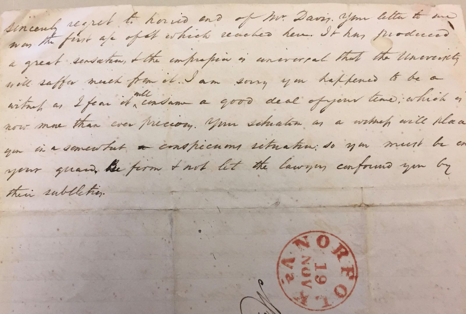 "A handwritten letter from Alexander Galt, father to William and Ann Galt. The letter includes red stamp at the bottom of the page that reads, ""Norfolk, Va., Nov. 19"""