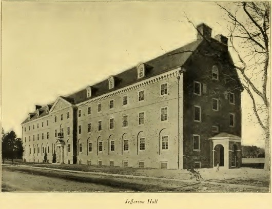 Jefferson Hall, with no Jamestown Road brick wall, 1922 Colonial Echo, p. 13