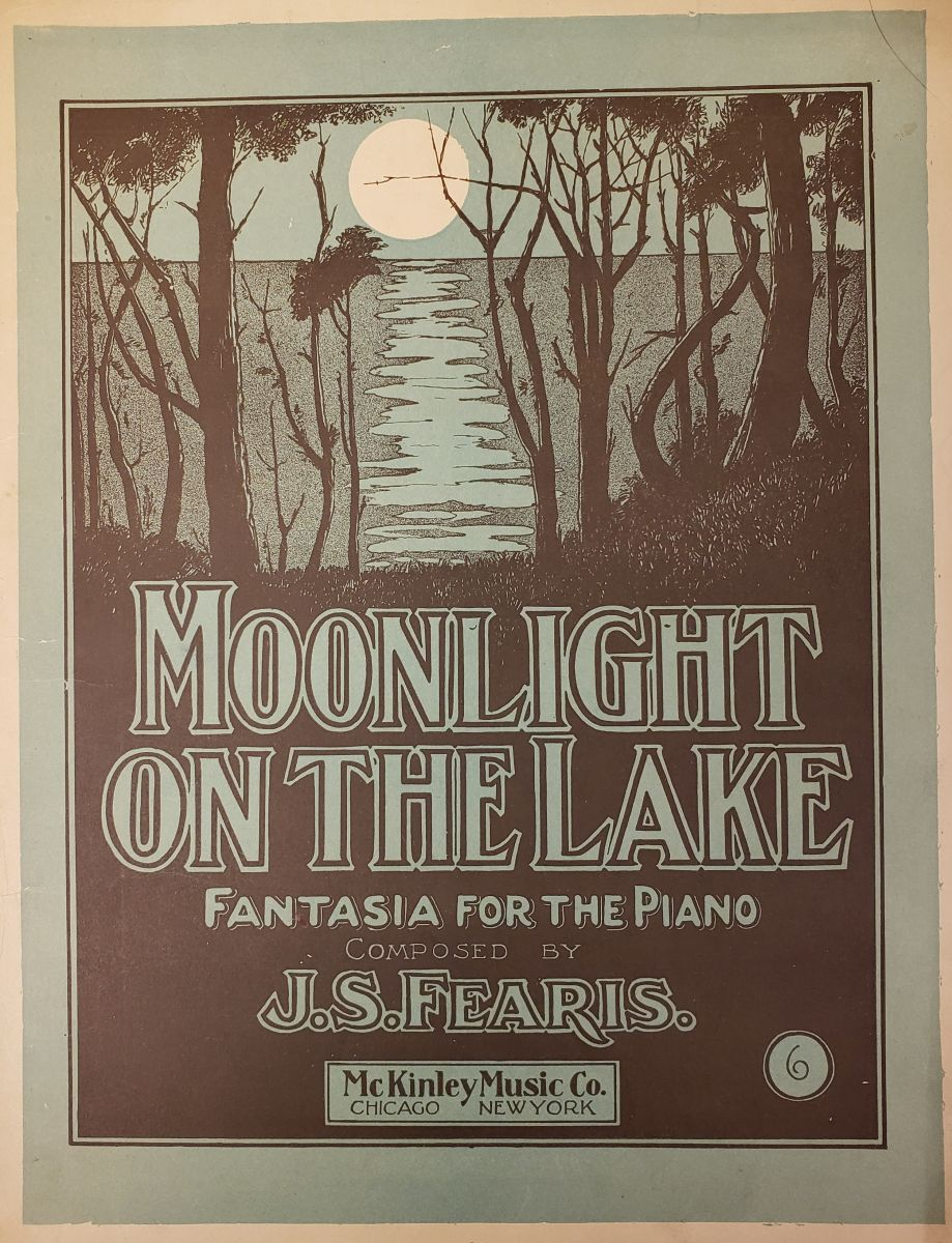"The blue and black cover of this sheet music has a picture of the moon shining across a body of water with some dark trees in the foreground. On the lower half of the page is the title ""Moonlight on the Lake: Fantasia for the Piano"""