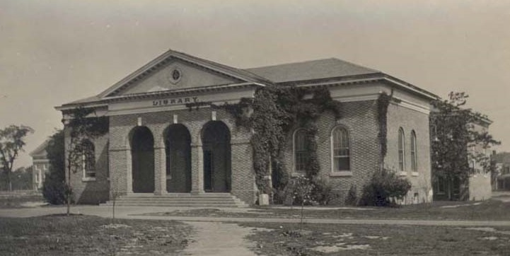 The original entrance to Tucker Hall from the early 20th century.