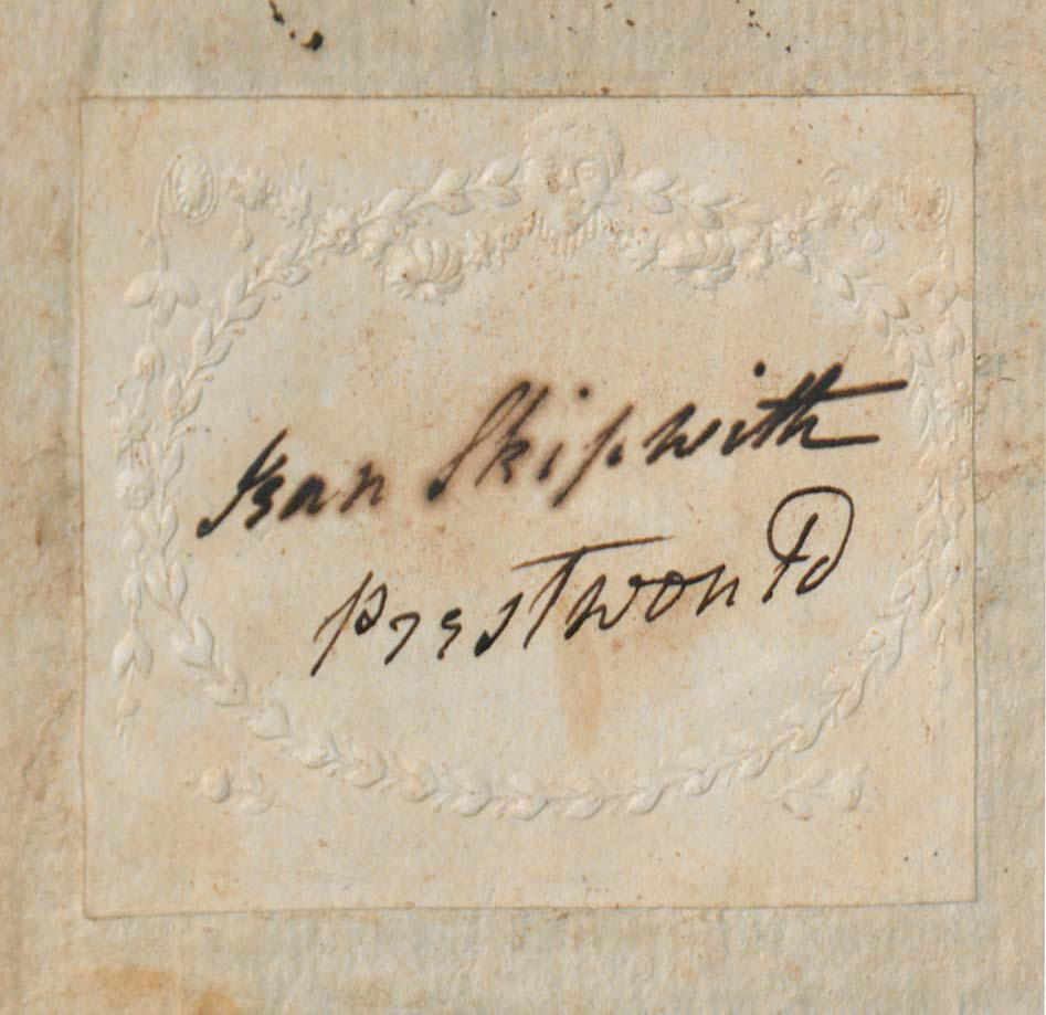 Bookplate found in the Skipwith collection with Jean Skipwith's signature.