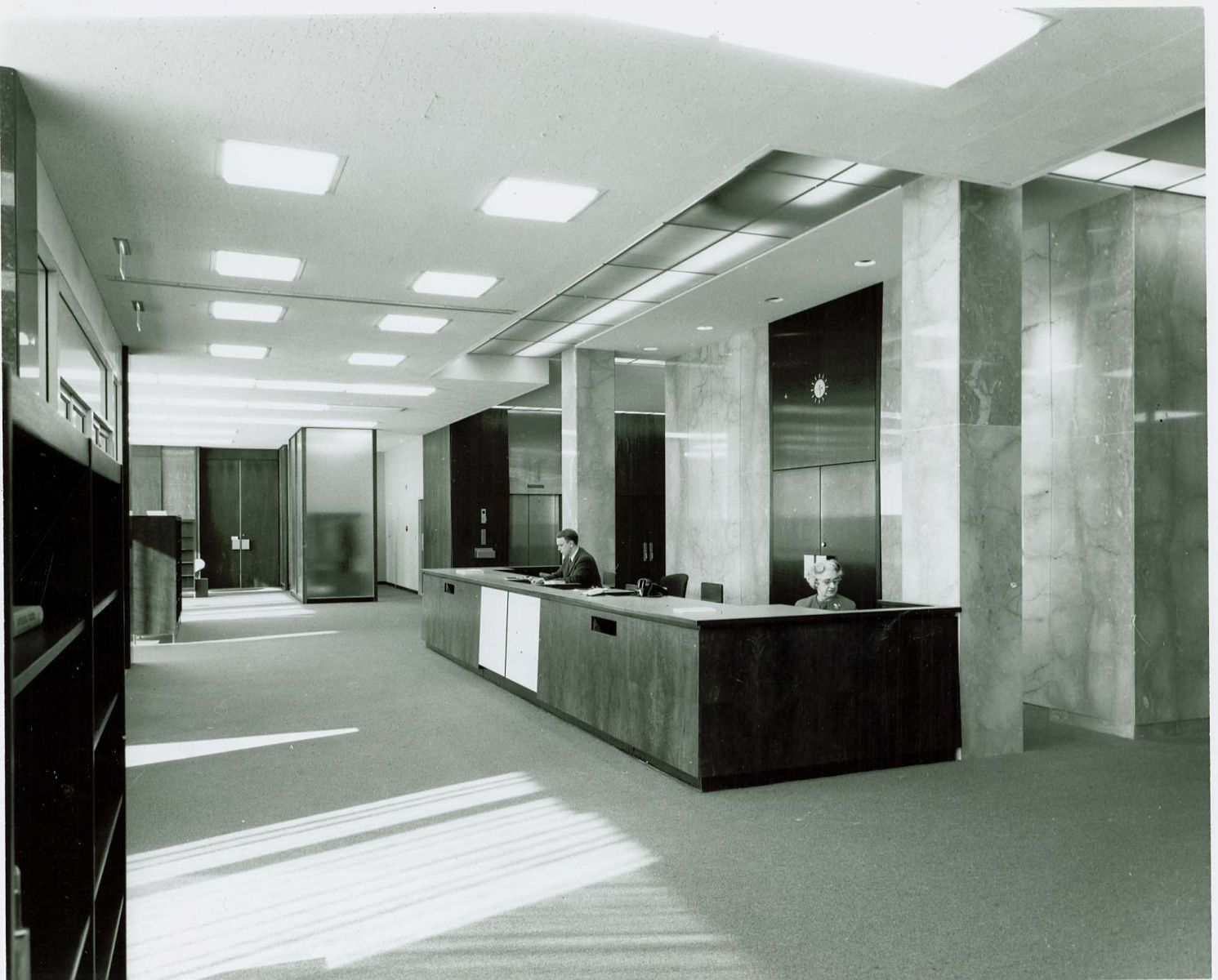 Circulation desk inside Swem during the late 1960s.