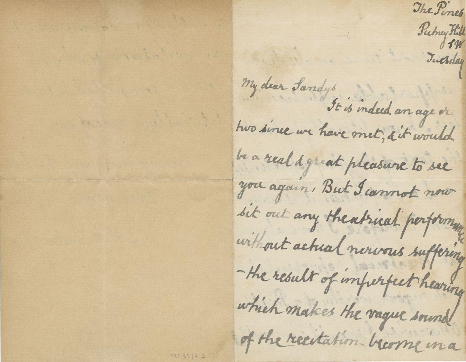 Letter in Swinburne's handwriting